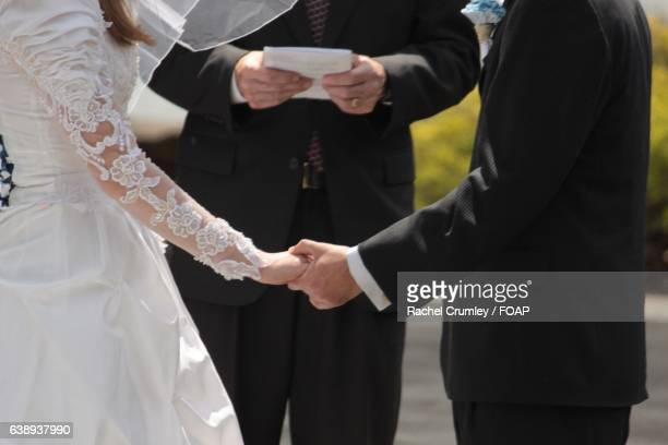 Close-up of wedding couple