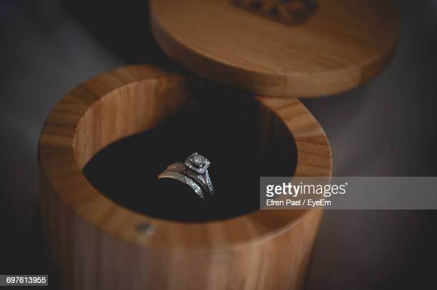 Close-Up Of Wedding Ring In Jewelry Box