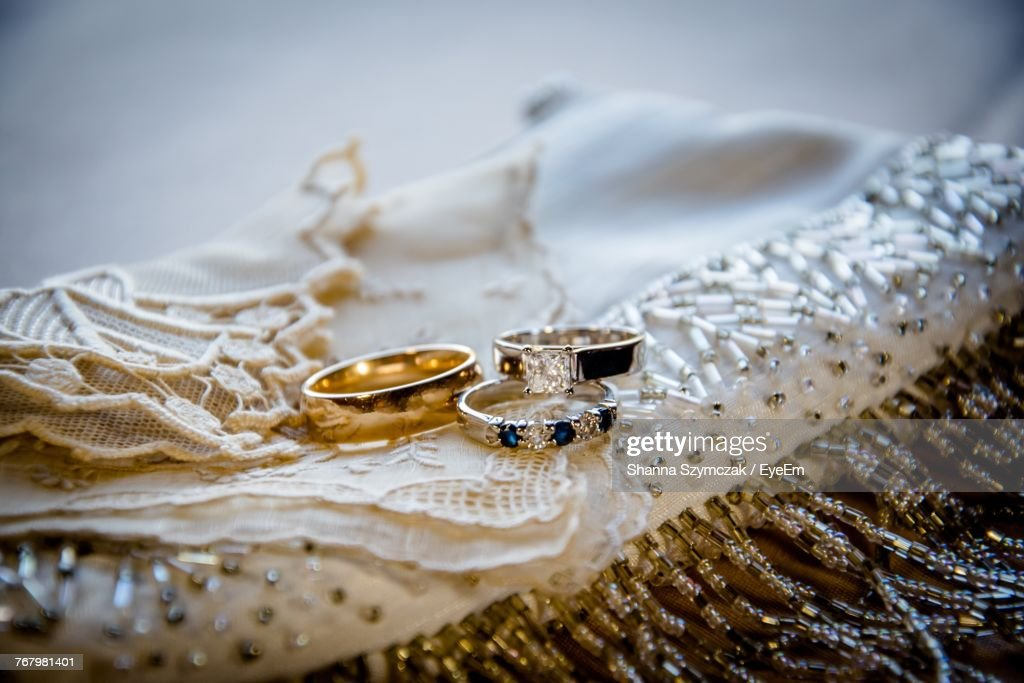 Closeup Of Wedding Rings On Cloth Stock Photo Getty Images