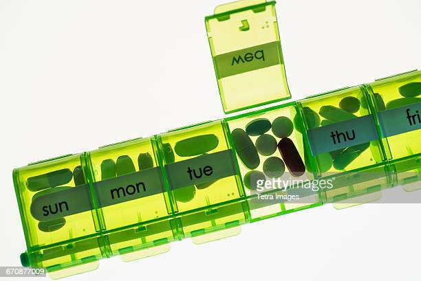 Close-up of weekly pill organizer