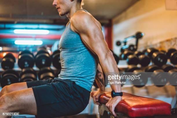 närbild av tyngdlyftare muskulösa arm - biceps bildbanksfoton och bilder