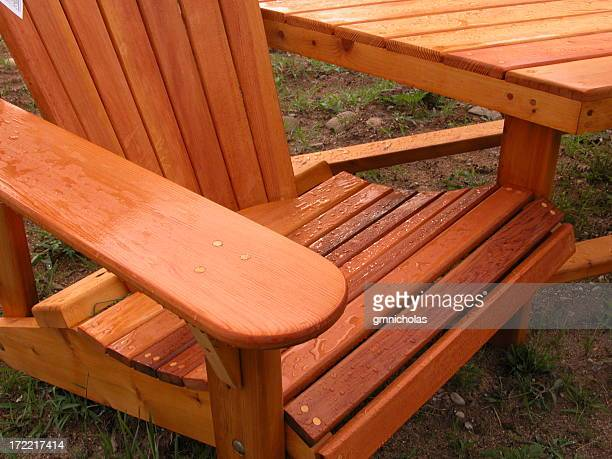 Close-up of wet Adirondack chair standing on the grass