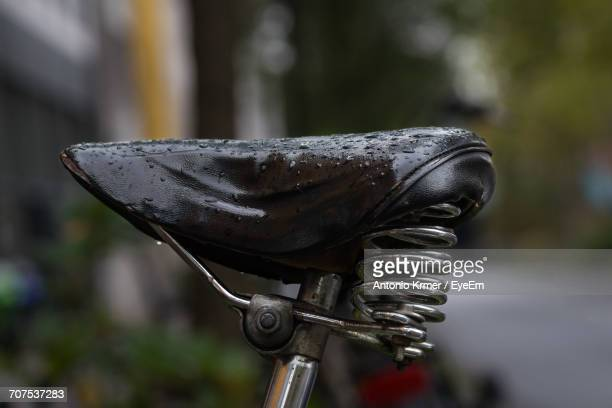 Close-Up Of Wet Bicycle Seat