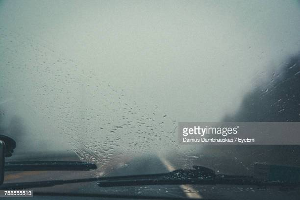 Close-Up Of Wet Car Windshield