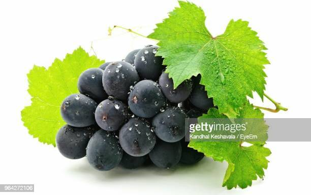 close-up of wet grapes with leaves over white background - druif stockfoto's en -beelden
