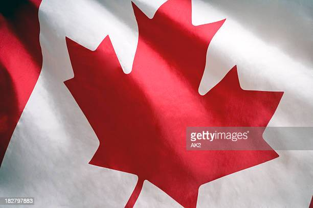 Closeup of white and red Canadian flag