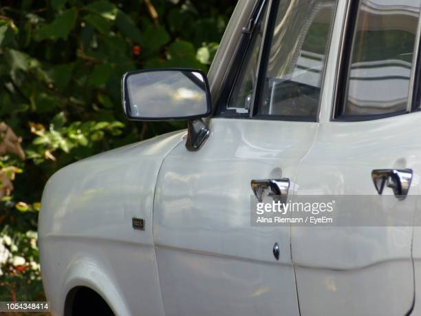 Close-Up Of White Car