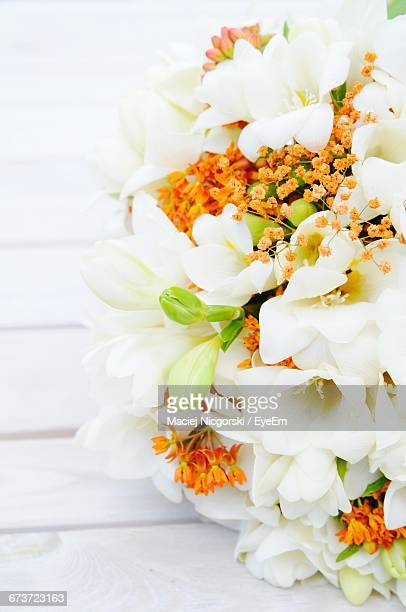 Close-Up Of White Flower Bouquet On Table