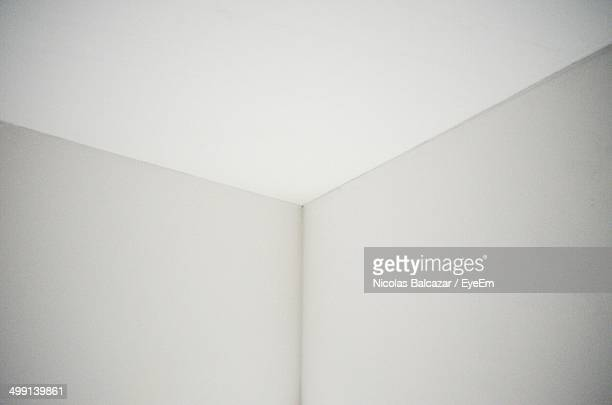 Close-up of white walls and ceiling of a room