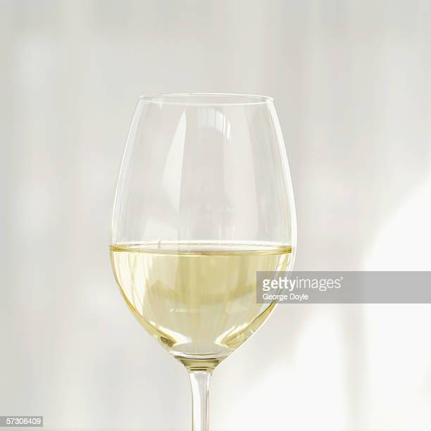 Close-up of white wine in a glass