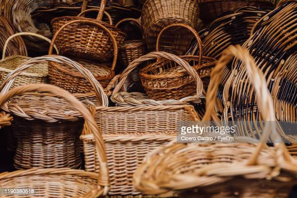 close-up of wicker baskets for sale - wicker stock pictures, royalty-free photos & images