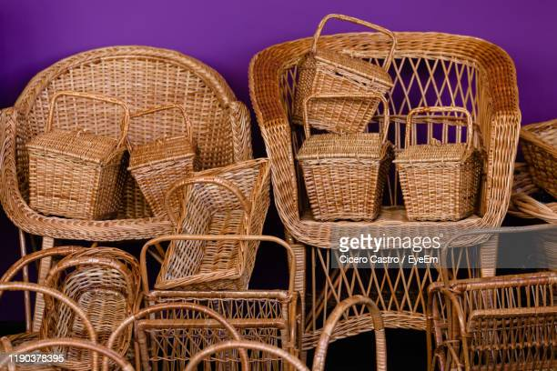 close-up of wicker objects for sale - basket stock pictures, royalty-free photos & images