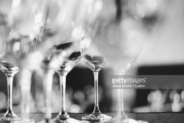 close-up of wine glass on table - jelena ivkovic stock pictures, royalty-free photos & images
