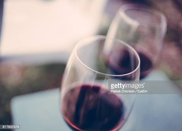 Close-Up Of Wine Glass Served On Table