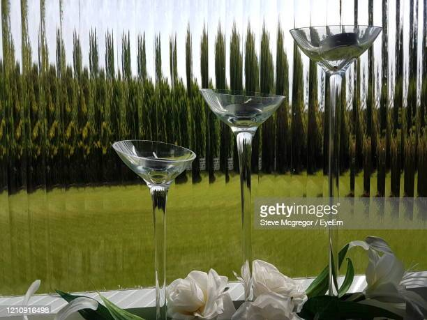 close-up of wine glasses at window. - mcgregor stock pictures, royalty-free photos & images