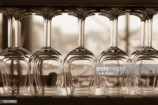 Close-up of wine glasses with shallow depth of field, sepia