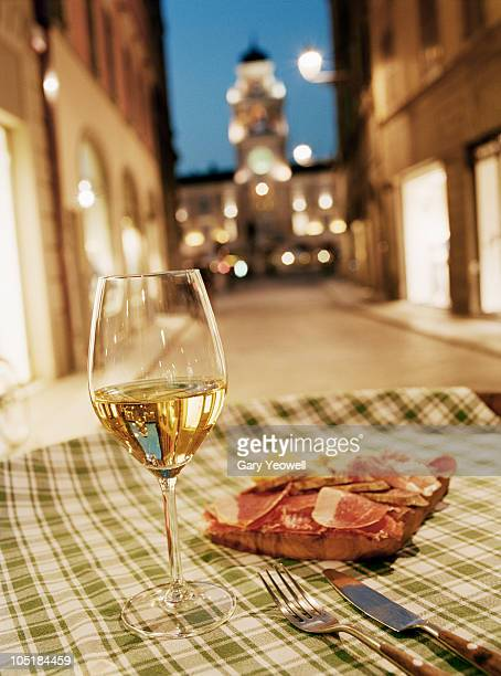close-up of wine with local cheese and ham   - emilia romagna stock pictures, royalty-free photos & images