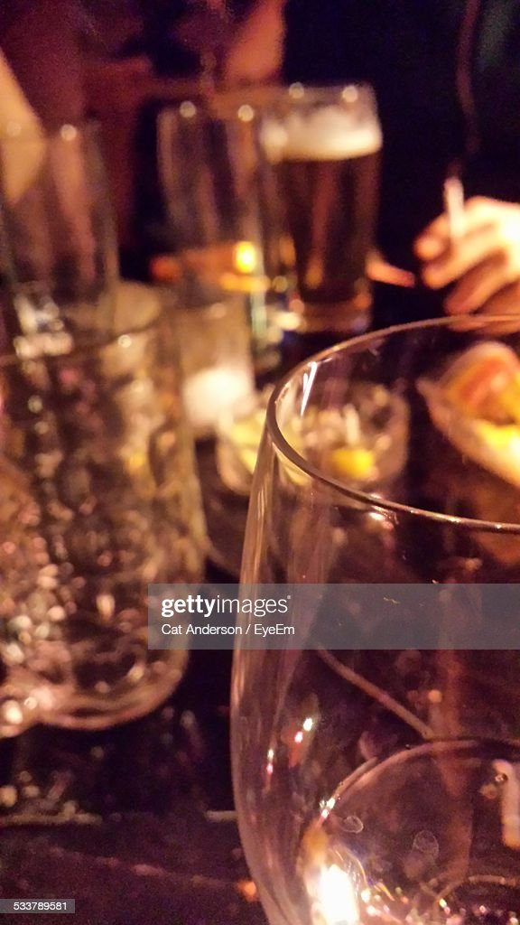 Close-Up Of Wineglass At Restaurant : Foto stock