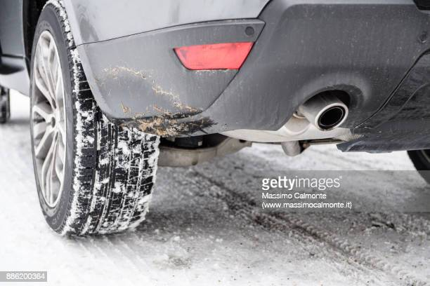 Close-up of winter car tires mounted on a sport utility vehicle