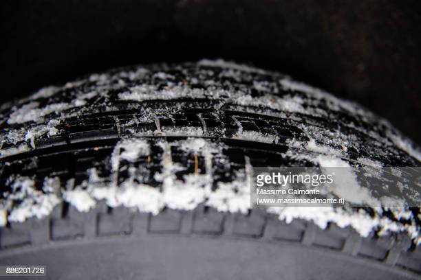 Close-up of winter car tires