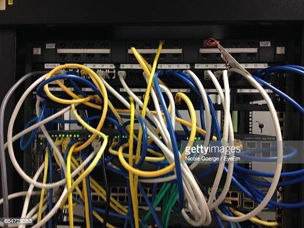 Close-Up Of Wires Connected To Computer