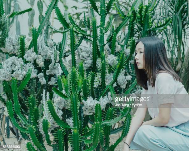 Close-Up Of Woman Crouching Near Cactus Plants