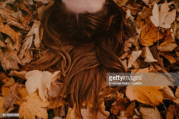 Close-Up Of Woman Hairs On Dry Maple Leaves During Autumn