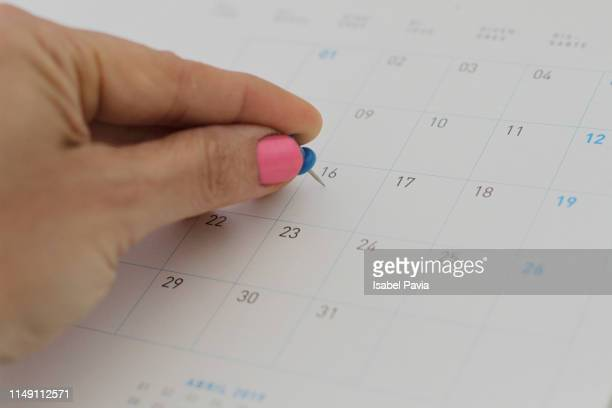 close-up of woman hand pinning on calendar folder - june stock pictures, royalty-free photos & images