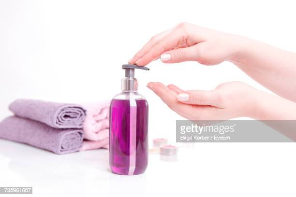 Close-Up Of Woman Hand With Liquid Soap