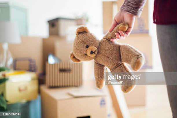 close-up of woman holding teddy bear in new home - teddy bear stock pictures, royalty-free photos & images