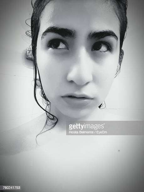 Close-Up Of Woman In Bathroom