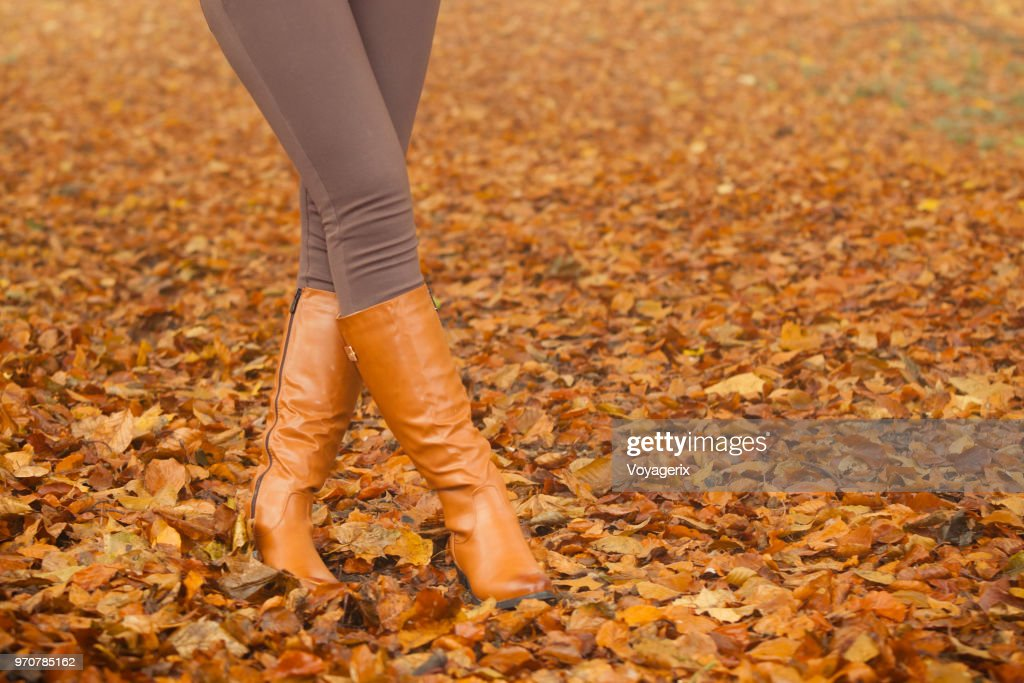 Closeup of woman legs in brown boots. Fall fashion : Stock Photo