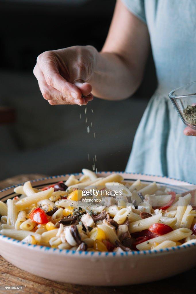 Close-up of woman making Italian pasta : Stock Photo