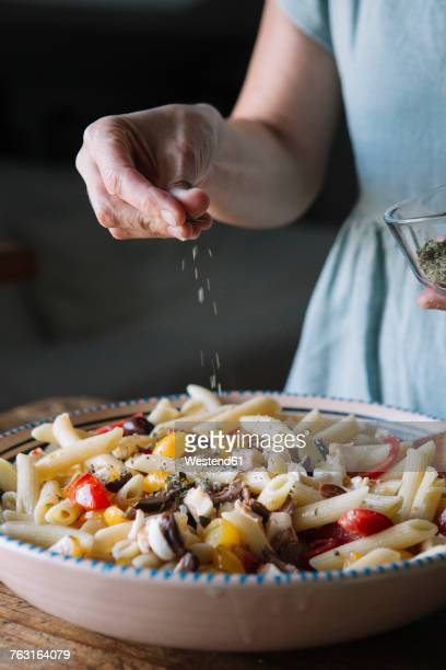 Close-up of woman making Italian pasta