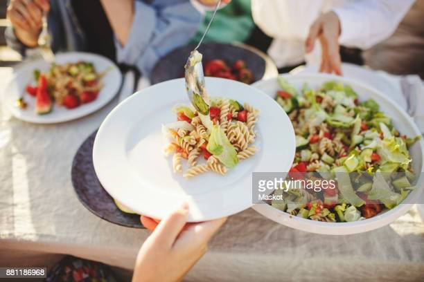 close-up of woman serving pasta to friend at picnic table - porzione di cibo foto e immagini stock