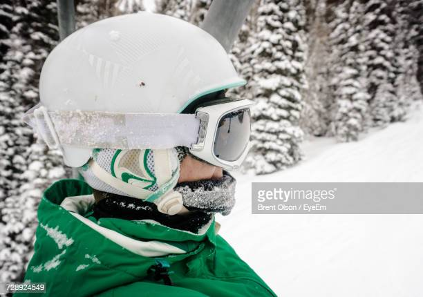 Close-Up Of Woman Ski Helmet During Winter