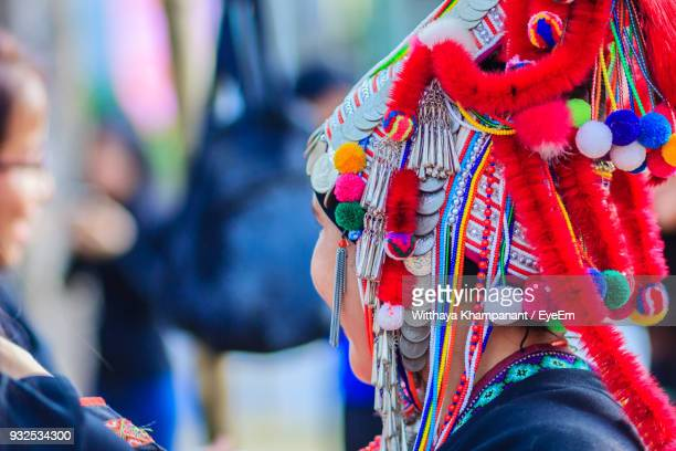 Close-Up Of Woman Wearing Colorful Traditional Clothing