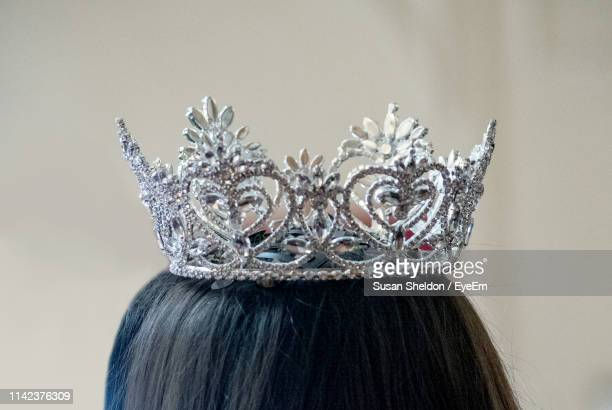 close-up of woman wearing crown - crown close up stock pictures, royalty-free photos & images