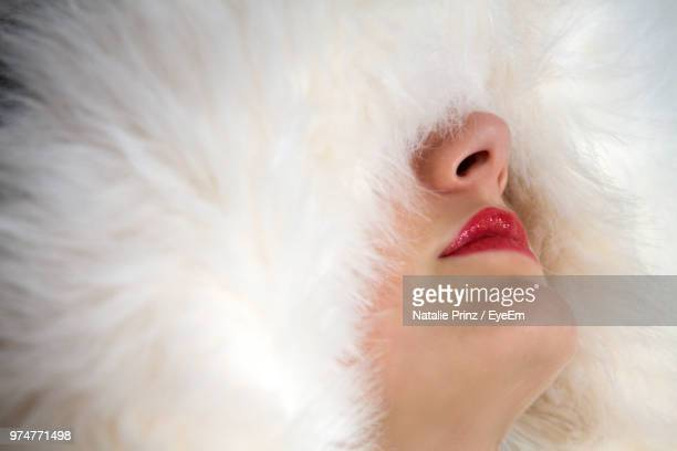 Close-Up Of Woman Wearing Fake Fur