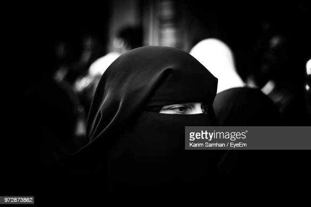 close-up of woman wearing hijab - veil stock photos and pictures