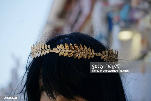 close-up of woman wearing tiara on hair - crown close up stock pictures, royalty-free photos & images