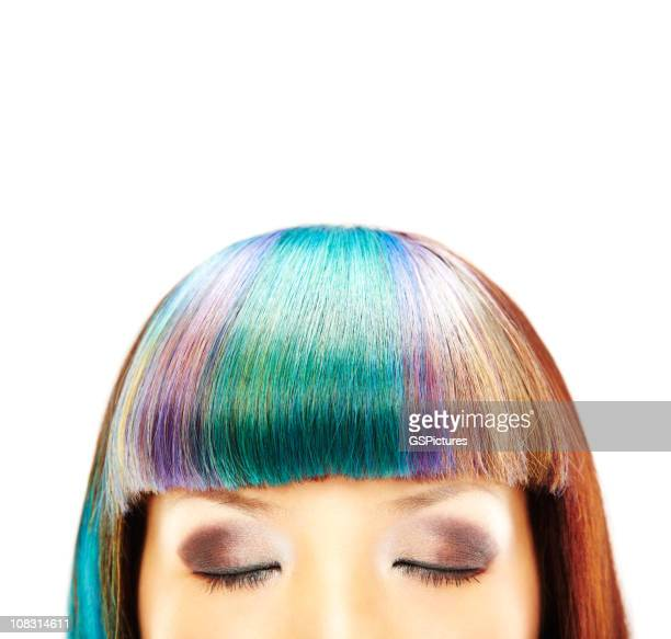 close-up of woman with closed eyes - asian model stock photos and pictures