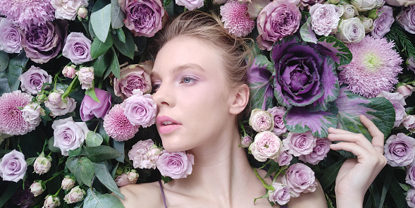 Close-Up Of Woman With Flowers - gettyimageskorea