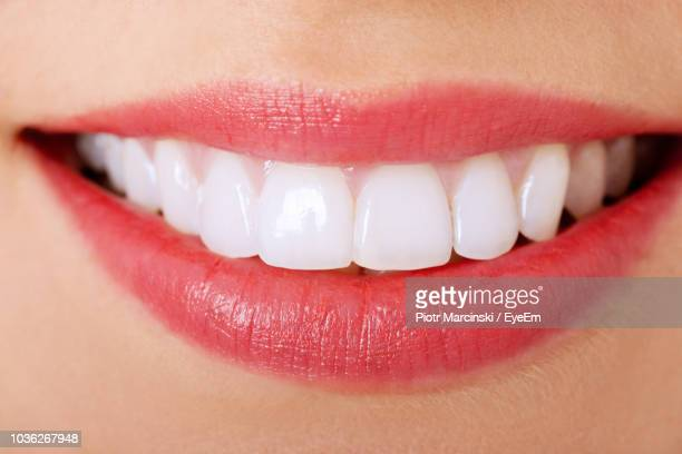 close-up of woman with toothy smile - teeth stock pictures, royalty-free photos & images