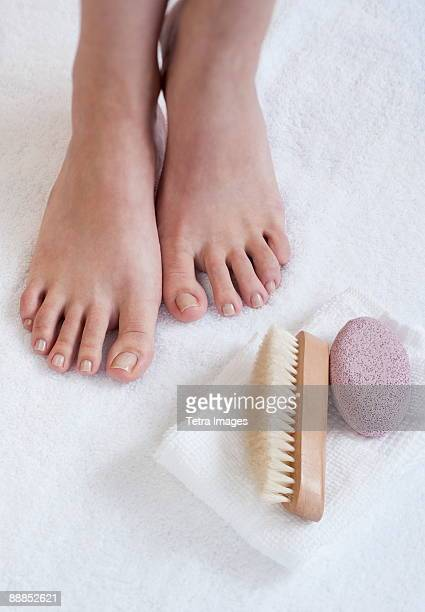 Close-up of womans foot having pedicure