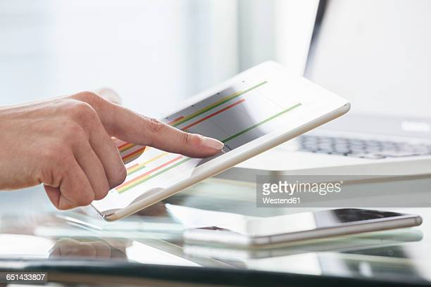 Close-up of womans hands using digital tablet