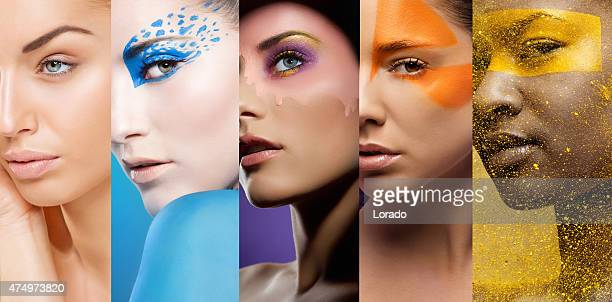 close-up of women's faces with various colourful make-ups - stage make up stock photos and pictures