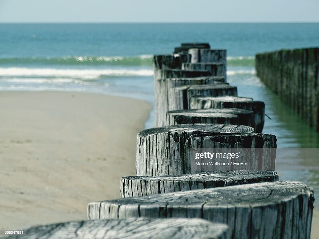 Close-Up Of Wood On Beach By Sea : Stock Photo