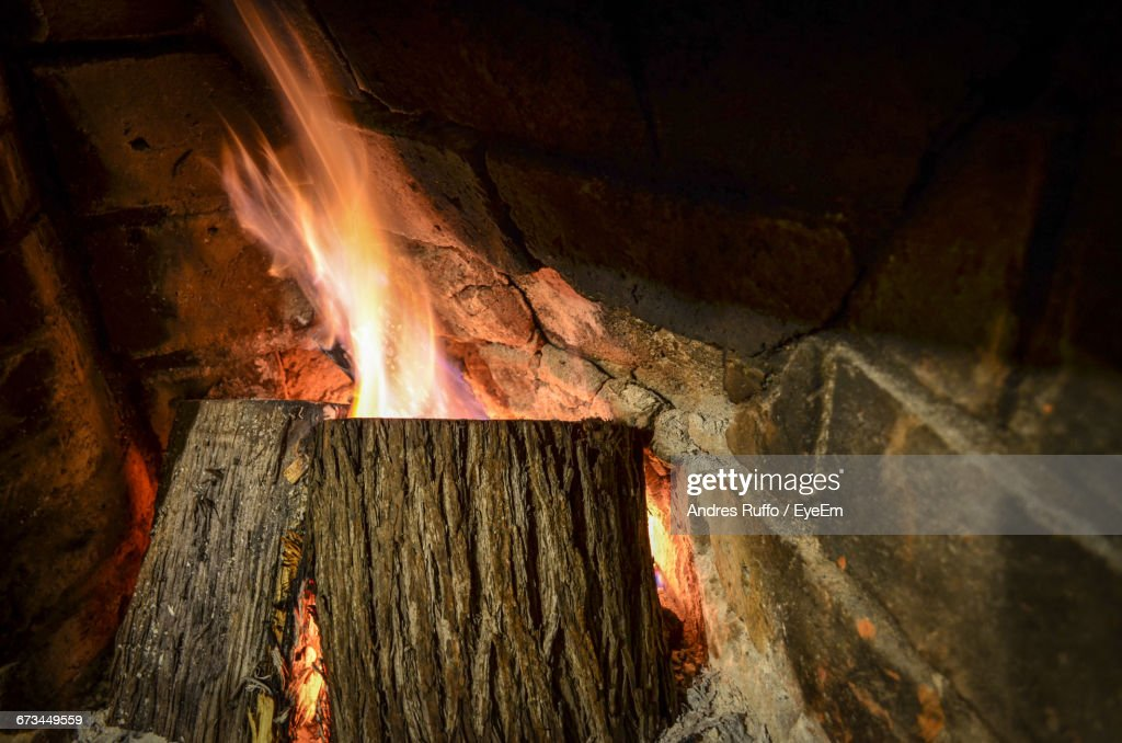 Close-Up Of Wood On Fireplace : Stock Photo