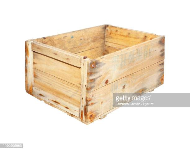 close-up of wooden box against white background - crate stock pictures, royalty-free photos & images